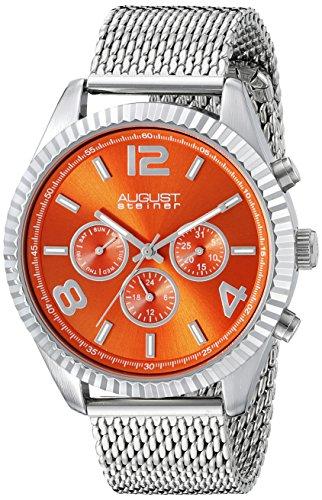 August Steiner-Orologio da uomo al quarzo con Display analogico, colore: arancione e cinturino in acciaio INOX color argento AS8196OR