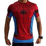 Camiseta de compresión de manga corta Born2RideTM, interior, térmica, ideal para gimnasio o ciclismo, diseño de superhéroe Rojo Spiderman Red/Blue Small