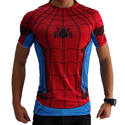 Superheld-Kostüm für Fitnessstudio/Radsport, Compression Baselayer T-Shirt mit kurzen Armen für Herren Gr. S, Spiderman Red/Blue (Spiderman Alle Kostüme)