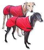 Mantel / Anzug / Pullover für Windhunde, wasserdichtes Mikrofasergewebe gefüttert mit goldfarbenem Acrylwebpelz, Rot