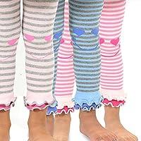 TeeHee Kids Girls Fashion Cotton Leggings 3 Pair Pack (3-5Y, Happy Stripe)