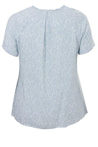 Frapp Damen T-Shirt Bluse Rundhals 1/2 Arm Alloverdruck Beach blue / white