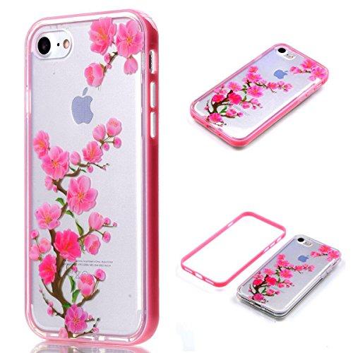 """MOONCASE iPhone 7 Coque, IMD Gel Souple TPU Case Fleur Motif Cover pour iPhone 7 4.7"""" Transparente Housse Antidérapant en Silicone Avec Absorption de Chocs [Butterflies Pattern] Plum blossom"""