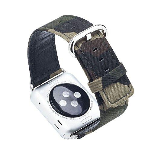 Cuitan Langlebig Leinwand Uhrenarmband für 42mm Apple Watch iWatch, mit Adapter Ersatzband Uhrband Watch Strap Wrist Band Armband Watchband für Apple Watch (Nicht enthalten Uhren) - 2