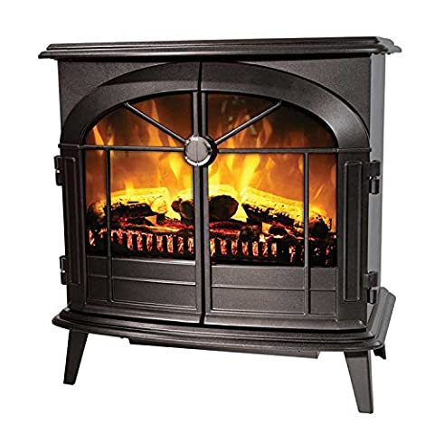Dimplex Leckford 2kW Electric Flame Effect Stove in Matt Black with Remote Control