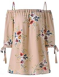 Feixiang Camiseta para Mujer de Sin Mangas Slash Cuello Sexy Cabestro  Chaleco de Verano de Floral 9289a818f077