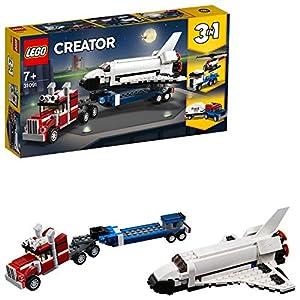 LEGO Creator TrasportatorediShuttle, Elicotteri e Automobile con Roulotte, Set da Costruzione Avventuroso 3 in 1, Veicoli Giocattolo per Bambini dai 7 Anni in su, 31091  LEGO