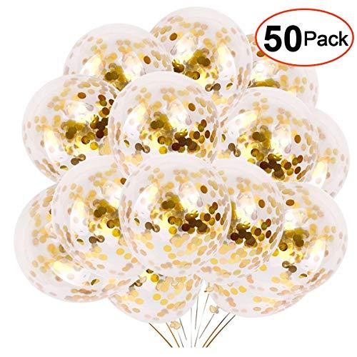 YMSZ Gold Konfetti Luftballons, 50 Stück 30cm Latex Party Luftballon Latex Party Luftballons für Hochzeit Verlobungsfeier Geburtstag Dekorationen