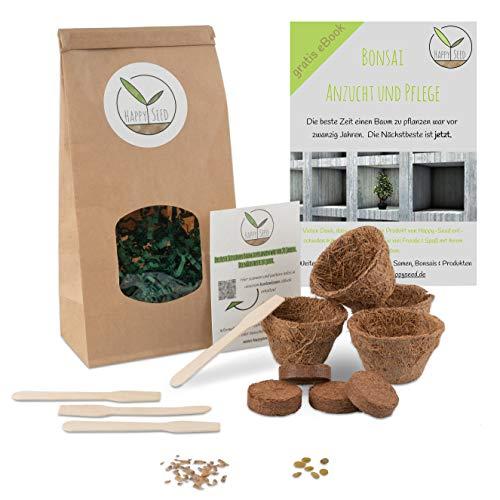 Bonsai Starter Kit Anzuchtset inkl. GRATIS eBook - Pflanzset aus Kokostöpfen, Samen & Erde - nachhaltige Geschenkidee für Pflanzenfreunde