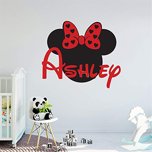 Wandaufkleber Kinderzimmer Mickey Minnie Mouse Wall Art Decal Sticker Personalized Minnie Mouse Custom Names Wall Decal Nursery Name Sign Removable Girl Kids Room Decor