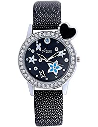 Adix Black Leather Analog Watch For Women