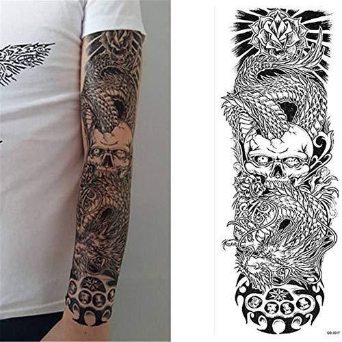Blume Tattoos Aufkleber Schulter Tattoo ärmel körper malen Rosen Halloween Tod schädel kürbis Seele Schwarz Feuer 3 Stücke- ()