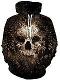 Loveternal Felpe Stampate 3D Uomo Felpa con Cappuccio 3D Cranio Hoodie Coulisse Tasca Compongono Pullover per Gli Uomo Le Donne S