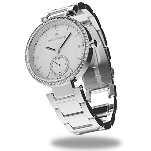 Timothy Stone Elle Stainless damenuhr - Armbanduhr Analog Quarz, Farbe Silber Designuhr - Kristallen Mit Abendkleider