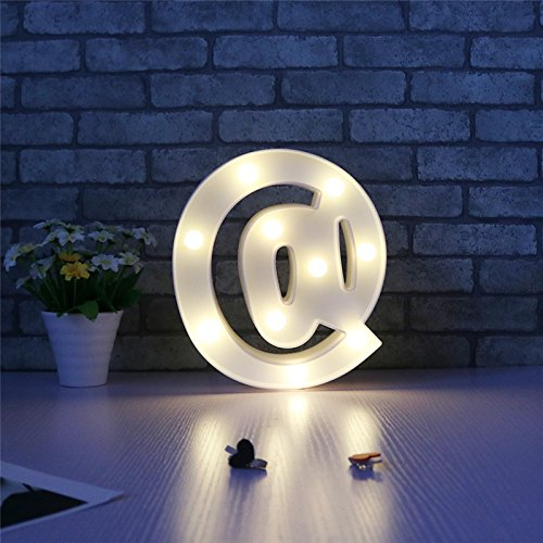 (Weiße Buchstaben LED Marquee Nacht Licht Zeichen Alphabet Licht Indoor Wand Dekoration Leuchten Kid Geschenk, @)