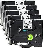 5x Schriftbandkassette für Brother TZe-221 schwarz auf weiß 9mm breit x 8m lang laminiert geeignet für Brother P-Touch 1000W 1010 1090 1830VP 2030VP 2100VP 2430PC 2470 2730VP 7100VP 7600VP H100R H105WB H150WB H300 D200VP D400 D600VP P750W und andere P-Touch Geräte kompatibel zu TZE-221