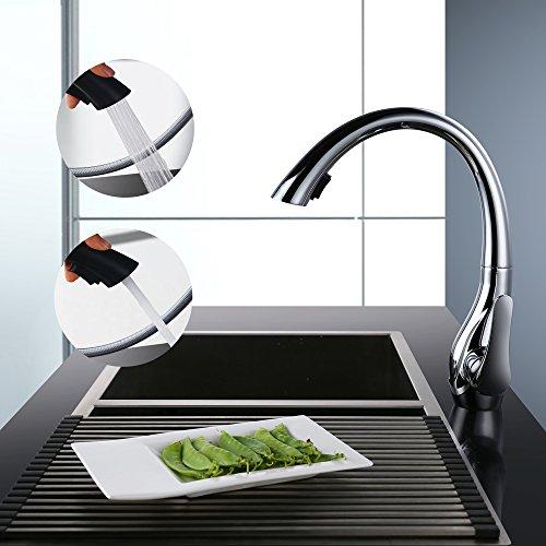 HOMELODY® - Rubinetteria da cucina, rubinetto retraibile in ottone cromato  per lavabo, leva miscelatore unico di controllo sul lato