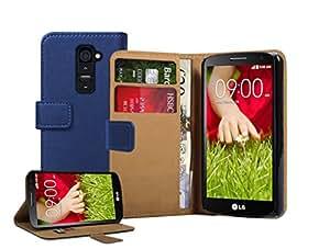 Membrane - Bleu Portefeuille Etui Coque LG G2 Mini (D620, D620R, D620K, Dual SIM D618) - Wallet Flip Case Cover Housse