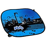 Auto-Sonnenschutz mit Namen Jakob und schönem Motiv mit City-Skyline in der Farbe Blau für Jungen | Auto-Blendschutz | Sonnenblende | Sichtschutz