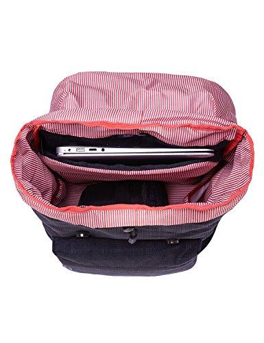 """Rucksack Damen Herren Vintage KAUKKO Reiserucksack Studenten Rucksack Laptop Rucksack für 14"""" Notebook Lässiger Daypacks Schultaschen of 2 Side Pockets für Wandern Reisen Camping (7BLACK) 43black"""