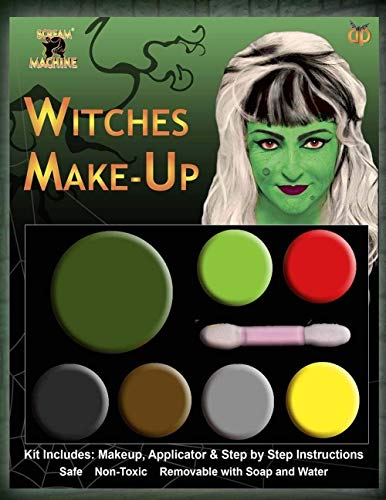 Kit di palette trucchi viso per travestimenti spaventosi, a tema halloween, witch, taglia unica