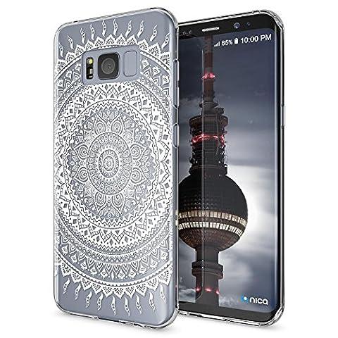 Samsung Galaxy S8 Plus Coque Protection de NICA, Housse Motif Silicone Portable Premium Case Cover Transparente, Ultra-Fine Souple Gel Slim Bumper Etui pour S8-Plus, Designs:Mandala Blanc