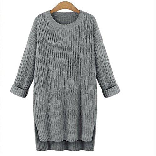 Suéteres de mujer Casual Sólido Manga larga Suelto O cuello Vestido de punto jerseys Suéteres de invierno LMMVP (Un tamaño, Gris)