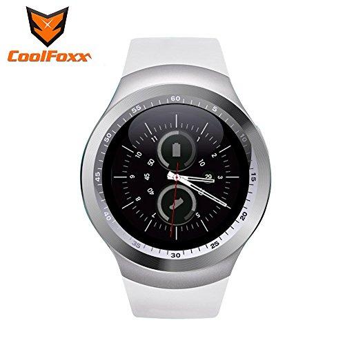 Reloj inteligente, CoolFoxx Y1 Bluetooth 3.0 Inteligente Tarjeta Micro SIM reloj de pulsera con pantalla táctil, podómetro, monitoreo de sueño, mensaje, calendario, llamada y recordatorio sedentario para iPhone, Samsung, Android, Motorola, LG, HTC (blanco)