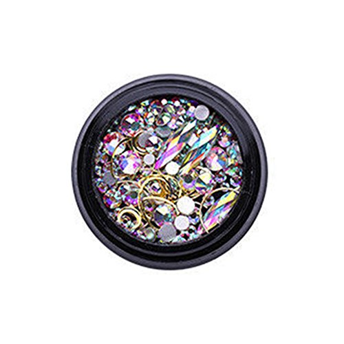 Flash ManiküRe Salon Farbverlauf Perle Pailletten Nageldesign ManiküRe Strass Sticker Applikation Regenbogen Neon Nail Art Sticker NäGel 3D Dekoration Steine Edelstein Schmuck