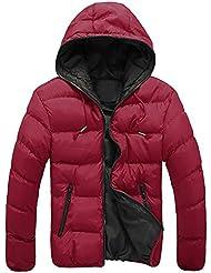 Sannysis Abrigo de invierno de esquí para hombre algodón de chaquetas, chaquetas gruesas de invierno con capucha (Rojo, 2XL)