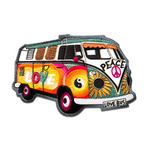 Parches - Hippie Bus Bully Love Peace coche - colorido - 7,2x4,8cm - t