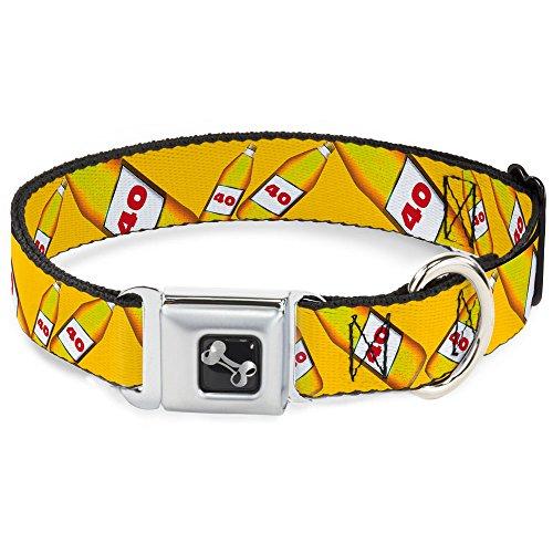 Buckle Down 40Oz Bier Flaschen Gelb Hunde-Halsband mit Knochen, klein/22,9-38,1cm -