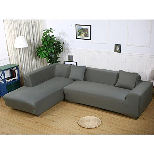 L Form Sofa Bezüge Sektionaltor Sofa Bezug 2Pcs Stretch Sofabezüge für L-Form Couch, grau, L-Shape 3+3 seats