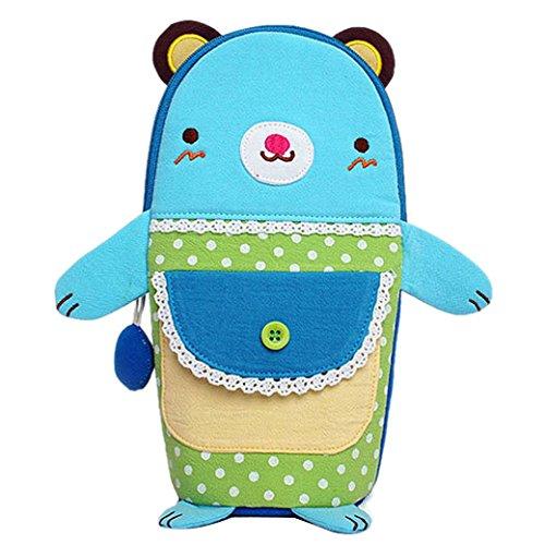 Happy Cherry Kinder Mädchen Jungen Tasche für Tassen Baumwolltuch Beutel Cartoon Tiermuster Bär Kindertasche Cup Bag Studenten Handbag 8.5x8.5x22cm - Blau Blau