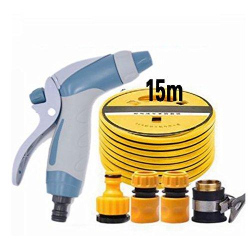RUIX Flexibler Gartenschlauch Autowaschwasserpistole Hochdruck Bewässerungsartefakt-Autospritzpistole,15M