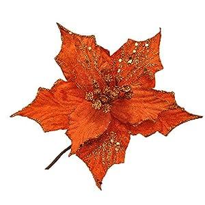 3 Piezas Purpurina Flor Artificial De Árbol De Navidad, Adornos Del Árbol De Navidad, Purpurina, Naranja Flor De Pascua, 17Cm(6.7″)