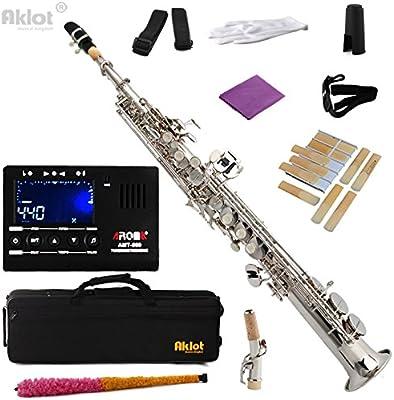 aklot BB Soprano Saxofón Sax chapado en níquel cuerpo de latón con caso sintonizador y cañas