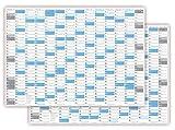 XXL Wandkalender DIN A0 2018 + 2019 gerollt (blau2) - Sehr groß im DIN A0 Format mit extra großen Tageskästchen (Jahreskalender werden gerollt versendet)