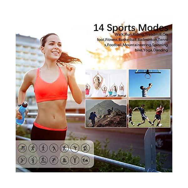 KUNGIX Pulsera Actividad Inteligente, Impermeable IP68 Pulsera Inteligente 0,96 Pulgadas Pantalla Color, Monitor Ritmo… 5