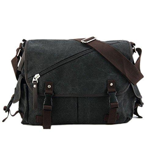 Wewod collegetasche/Laptoptasche--Vintage/Canvas & Leder/geeignet für Universität, Schule oder Arbeit (Schwarz) (Vintage Air Army)