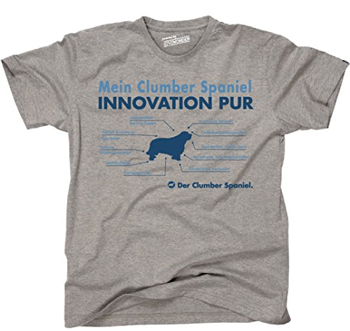 Siviwonder Unisex T-Shirt INNOVATION CLUMBER SPANIEL TEILE LISTE Hunde lustig fun Sports Grey