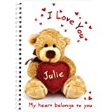 Personalised I Love You Teddy Heart A5 Notebook