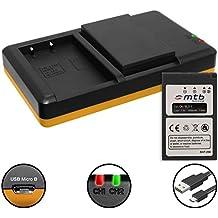 2 Batterie + Caricabatteria doppio (USB) per BLS-5, BLS-50 / Olympus Stylus 1(s) / PEN E-PL5, PL6, PL7, PL8, PM1, PM2 / OM-D E-M10 (Mark I / II / III) ... - v. lista! (Cavo USB micro incluso)