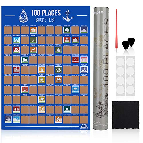Anpro Póster de Rascar de 100 Lugares Lista,6 PCS de Accesorios,Regalos para Amantes de Viaje,Lista de Deseos de Viajar