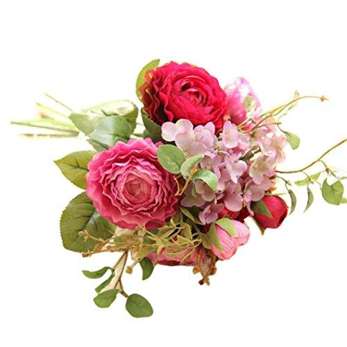 Romantische Hochzeit Bunte Künstliche Hochzeitsstrauß Rosen Seidenblumen Kunstblumen Blumen Brautstrauß der Braut (Pink) ()