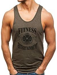 BOLF Hombre Camiseta Tank Top Escote Redondo Estilo Deportivo Slim Fit 3C3 Motivo dg6okiZ
