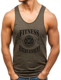 BOLF Hombre Camiseta Tank Top Escote Redondo Estilo Deportivo Slim Fit 3C3 Motivo