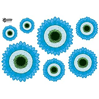 7 Funky Blue Laminated GERBERA Flower PVC STICKERS. Int & Ext Use - Free Postage