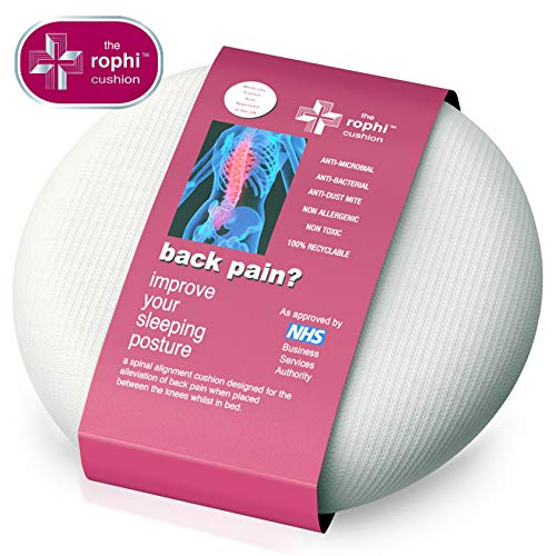 Patented Side Sleeping Knee Pillow Rophi Cushion (Patent Number 2433103), Trialed by UCLAN and Proven to Reduce Back Pain, Leg Sciatica Relief and Help a Slipped Disc. Attached Leg Stocking Means it Won't Move During Sleep. Great Pregnancy Knee Pillow. Fu