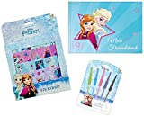 3in1-SET Disney Die Eiskönigin Freundebuch (A5) + 5 Gelstifte + Stickerset | Frozen Set